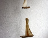 driftwood sailboats windchime...sails from genuine parchment...maritime style for your coastal home