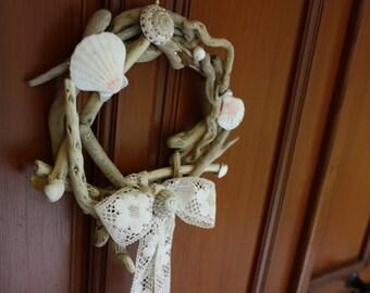 coastal decor wreath...driftwood...seashells... lace ribbon...mediterranean decor...beach decor...spring wreath...front door decoration