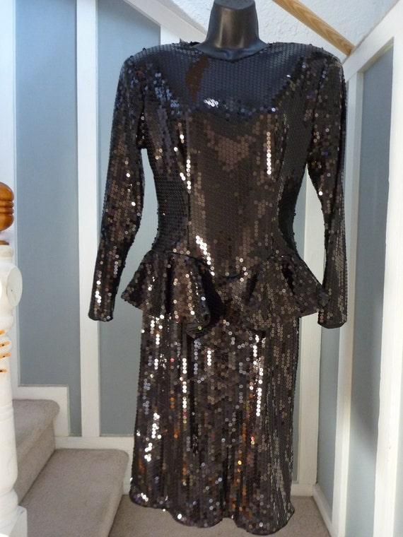 Super Sale Vintage 80s Avante Garde Sequin Pailette Covered Studio 54 Dress with Waist Ruffle Peplum