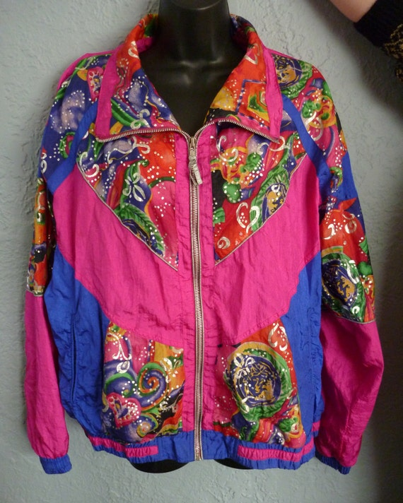 SALE Vintage 80s Hot Stuff Pink and Wild Watercolor Splash Design with Metallic Accents Windbreaker M L