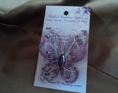 Handpainted Lavender & Glitter Butterfly Necklace