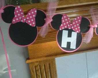 Minnie Mouse Birthday Banner, Hot Pink Polka Dots Minnie Mouse Birthday Banner, 1st Birthday Banner, Matching Pom Poms Available