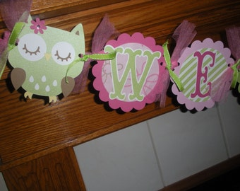 Owl Baby Shower Banner, Welcome Baby Banner Owls and Birdies Banner, Pinks and Green Owl Banner