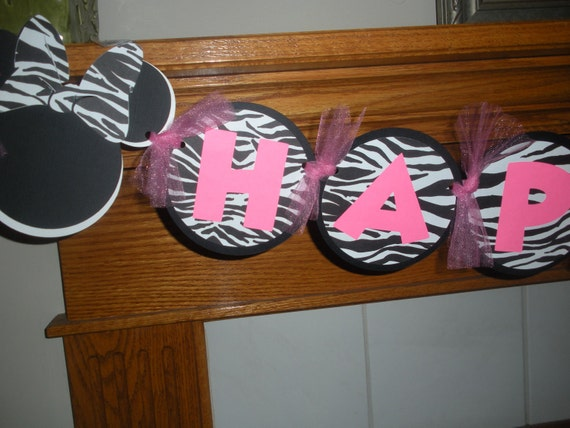 Birthday Banner Zebra Minnie Mouse Happy Birthday Banner Matching  Pom Poms Available