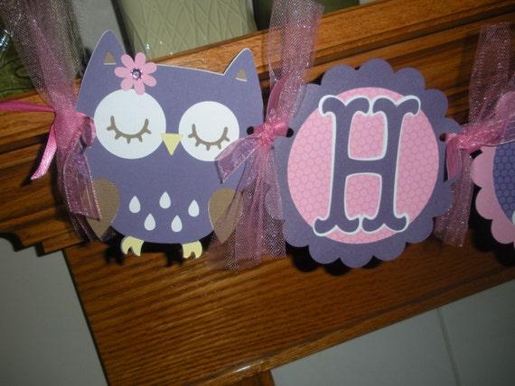 Owl Happy Birthday Banner, Owl Banner, Purple Pink Owl Banner, 1st Birthday Banner, Photo Prop Matching Tissue Pom Poms Available