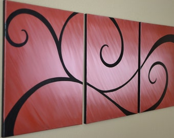 Large Burgandy Swirl Oil Painting on 3 Canvases Original JulieArt by SunnyJulie FREE SHIPPING in US