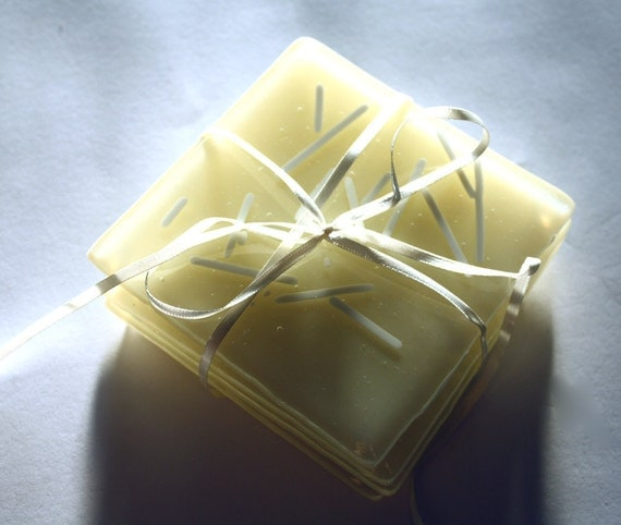 Vanilla Sticks. Set of Four Cream Fused Glass Coasters
