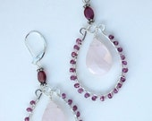 Hand Shaped Sterling Silver Earrings with Garnet and Rose Quartz