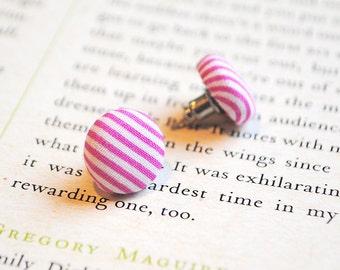 Candy Stripe Earrings, Pink & White Stripe, Sweet Shop