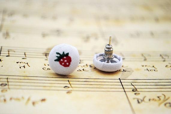 SALE Strawberry Button Stud Earrings, Nickel Free - UK Seller
