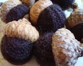 7 CASHMERE ACORNS Dark Chocolate Brown Bowl Fillers Deep Brown Felt Felted Wool Acorn Squirrel Food