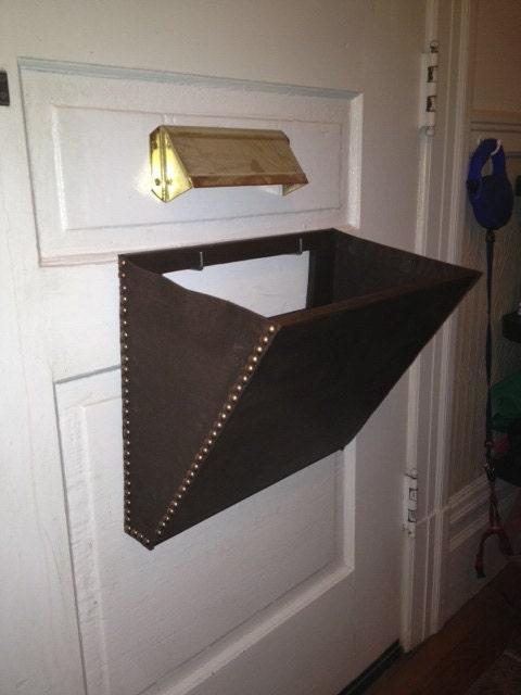 Mail Slot Catcher Pouch Basket Box Thingeemabob Dark Brown