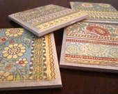 SALE set of 4 coasters - blue and yellow patterned