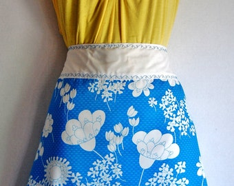 Straight Skirt Apron made with Vintage, 1970's Blue and White Floral Print