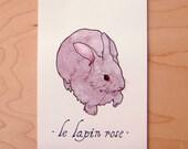 Le Lapin Rose- Mini Archival Print