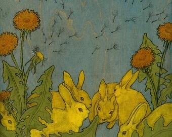 Dandelion and Rabbits - Archival Print