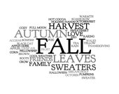 Words About Fall - Wall Art Print - Black And White