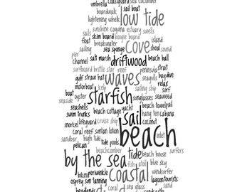 Beach Decor Print - Words About The Beach Collage Word Cloud Home Decor