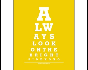 """Home Decor Wall Hanging """"Always Look On The Bright Side"""" Eye Exam Chart Print"""
