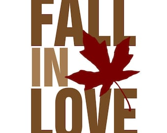 "Seasonal Art Print ""Fall In Love"" Featuring A Leaf Fall Home Decor"