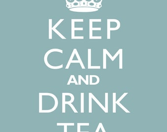 "Home Decor Wall Print ""Keep Calm And Drink Tea"" Retro Art"