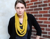 the Mildred knit crochet necklace in citron yellow - READY TO SHIP