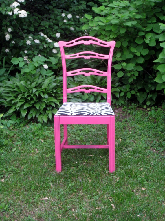 Vintage pink chair with zebra seat