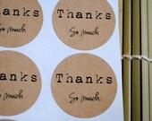 60 Thanks so much Kraft round labels/seals