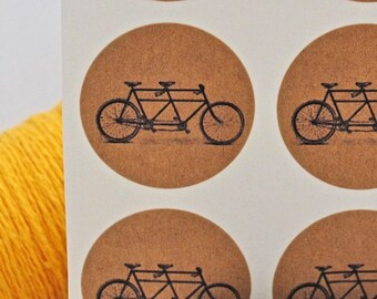24 Handmade Tandem Bicycle kraft round labels/seals