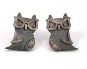 Owl With Glasses Earrings - Sand Blasted Sterling Silver- Handmade LAST PAIR