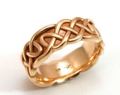 Mens Band Celtic Knot 14k Gold Ring- Band- Handmade