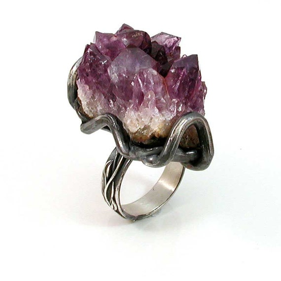 Amethyst Rock Ring Silver-RAW Cocktail Ring-  Handmade- OOAK