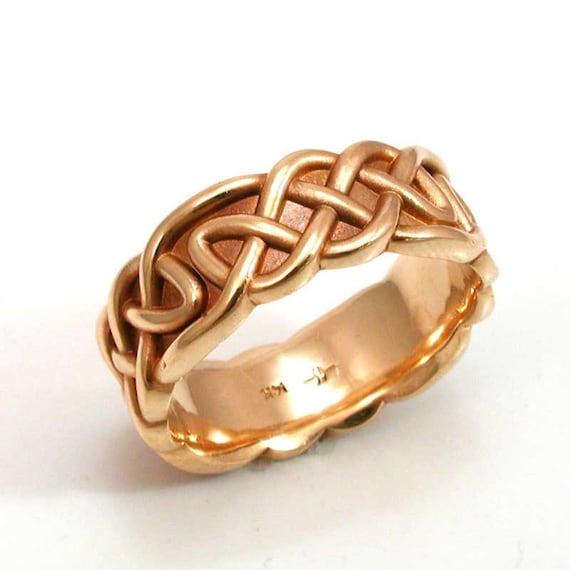 Mens Band Celtic Knot 14k Gold Ring- Band- Handmade