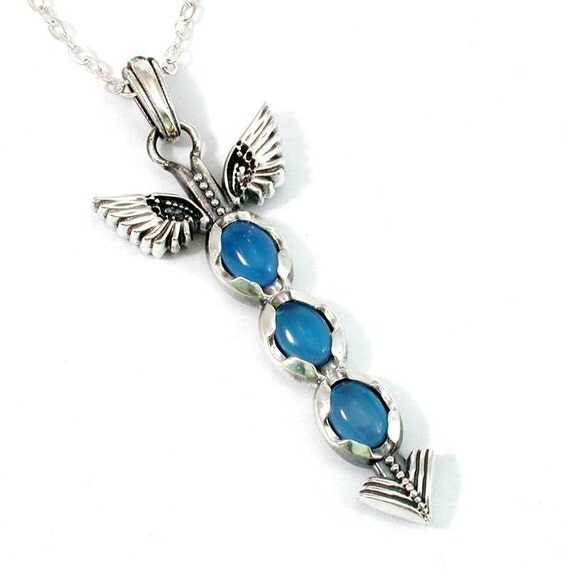 Silver Winged Arrow Pendant with Blue Agate Cabochons - Handmade