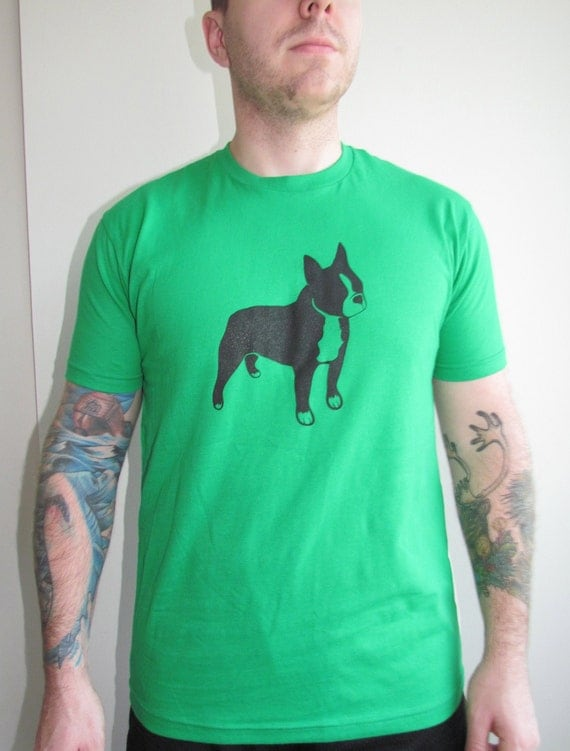 SAle Mens Boston Terrier Logo Kelly Green Shirt Available in Extra Extra Large FREE Shipping