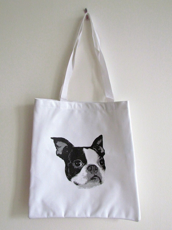 Boston Terrier White/Orange/Grey Logo Tote Bag FREE SHIPPING