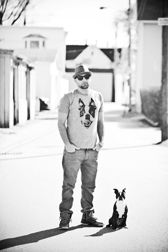 Men Boston Terrier Heather Grey Graphic Shirt Available in S-M-L-XL-2XL Free Shipping