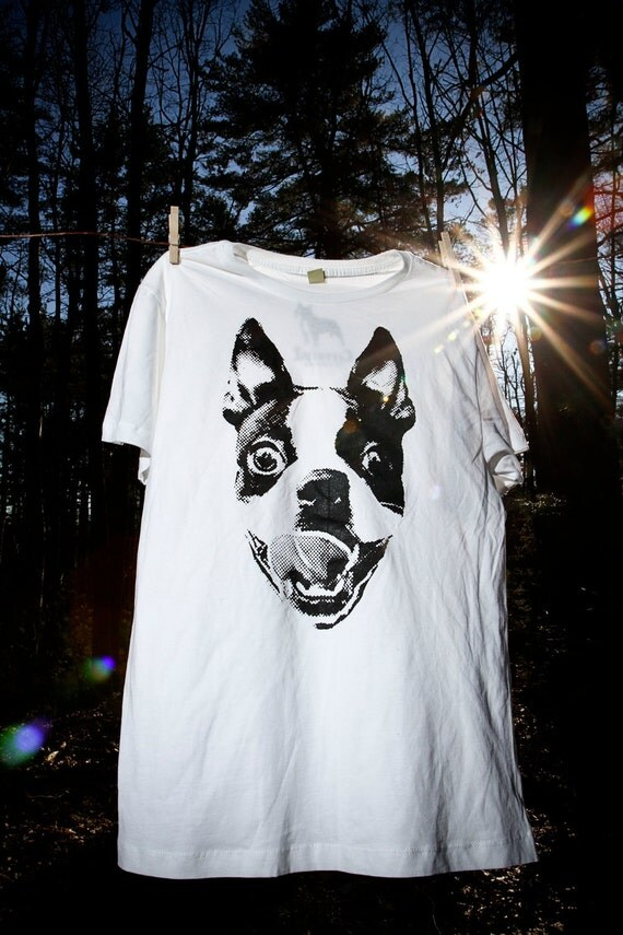 Men Boston Terrier White Graphic Shirt Available in S-M-L-XL-XXL Free Shipping