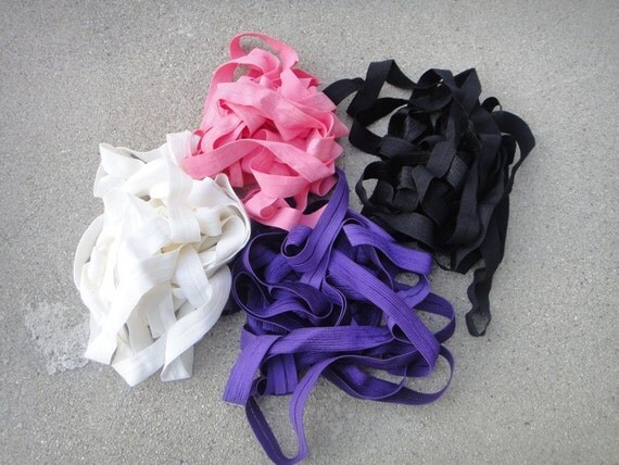 Fold over elastic 4 colors 2 yards of each color