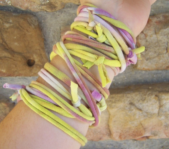 Extra Long Wrap Bracelet Made out of Recycled Tie Dyed T-Shirt Yarn, T Shirt Yarn