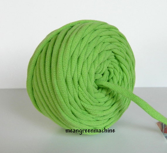 Recycled T-Shirt Yarn Lime Green 33 Yards , T Shirt Yarn, Bulky Crafting Cord