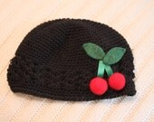 Black Crocheted Cap with Felted Wool Cherries, for Baby or Child