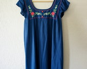 Vintage Navy Blue 1970s Floral Nightgown Tunic Mini Dress