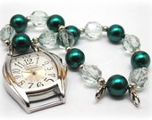 Beaded Interchangeable Watch and Band -  Pearly Green Christmas