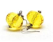 Golden Rays - Yellow Earrings