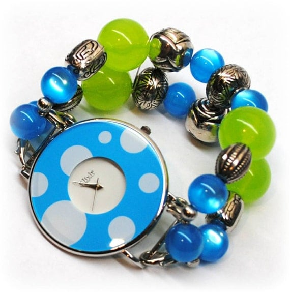 Interchangeable Chunky Beaded Watch - Spring Bling