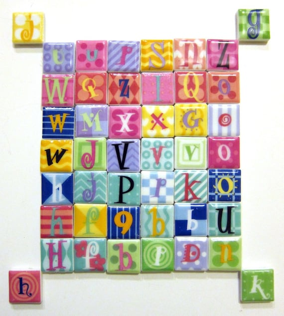 Sale Ganz Tiles 46 Ceramic Mosaic Letter Magnets 1 Inch