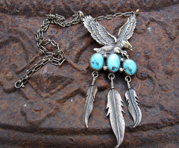 Vintage Turquoise & Silver Eagle Necklace with Feathers - Native American