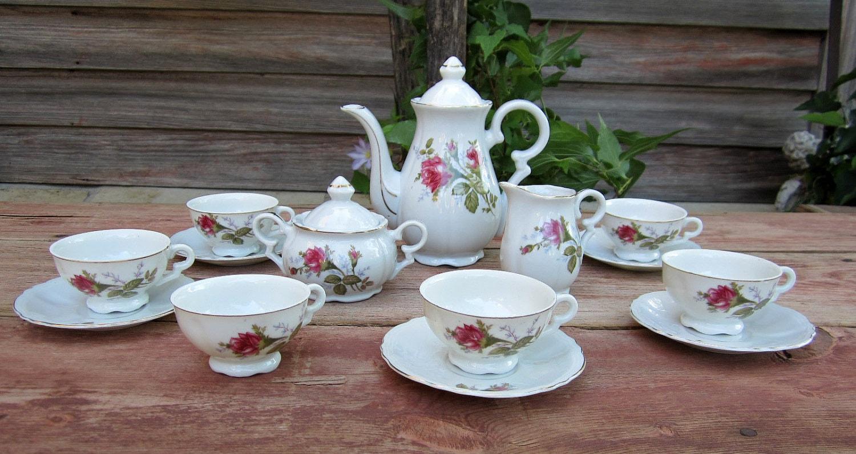 tea set vintage roses wallpaper - photo #8