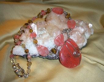 CHERRY CHERRY .... Cherry Quartz Pendant, Cherry Quartz and Volcano Cherry Quartz Beads, Tibetan Silver